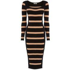 Oasis Stripe Colourblock Dress, Multi (305 SEK) ❤ liked on Polyvore featuring dresses, bodycon dress, black dress, long sleeve maxi dress, long-sleeve mini dress and black midi dress