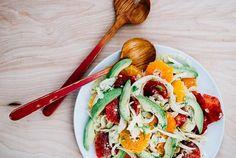 Blood Orange, Avocado, and Shaved Fennel Salad with Saffron Lemon Dressing via Brooklyn Supper