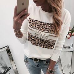 Striped Splicing Leopard Printed T-Shirt Tee - Cameo Brown - Fairyseason Leopard Print Top, Polka Dot Print, Polka Dots, Casual T Shirts, Shirts & Tops, Looks Plus Size, T Shirts For Women, Clothes For Women, Latest Fashion For Women