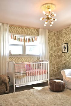 Artist Inspired Nursery with Gold Moroccan Inspired Wallpaper - love the pink and gold!