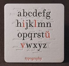 Typography Coaster. #letterpress #typography