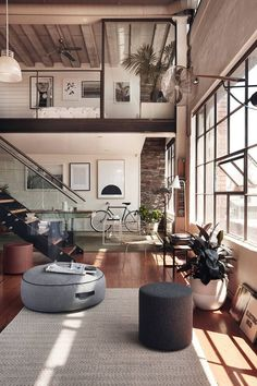 Inspired Image of Loft Home Design. A great deal of lofts have brick walls and therefore it could be somewhat difficult to hang any form of picture or mirror. A loft is not going to have. Loft Design, Deco Design, Modern Design, Modern Decor, Modern Rustic, Design Trends, Contemporary Design, Rustic Wood, Design Blogs