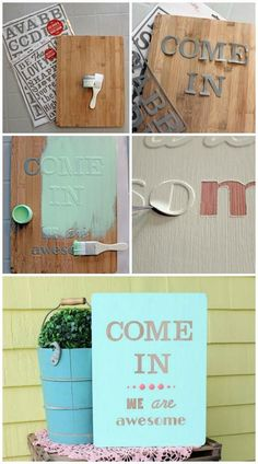 Easily create a wooden sign with reusable stencil masks.