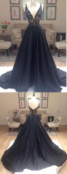 New Arrival Prom dress, Elegant A-line V-beck Black Long Prom Dress Ball Gown , 2017 Long custom prom dresses, Open back prom dress