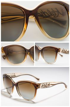 Clearly glamorous, these designer sunglasses from Ralph by Ralph Lauren® feature a haute couture cat eye shape crafted with clear acetate and an eye-catching scroll logo on the temples. #RalphLauren #Sunglasses #Eyewear #Glasses #details