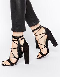 Missguided - Sandales à talons avec franges et détail corde
