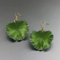 Lime Anodized Aluminum Lily Pad Earrings  Large by johnsbrana, $65.00
