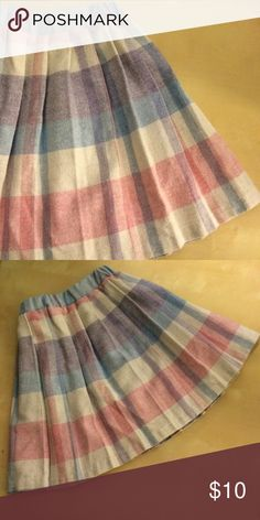 """Vintage girls' pleated skirt Vintage pleated girls' skirt. Pastel. 40% polyester, 30% wool, 25% acrylic, 5% other. Size 5. In very good condition with minor wear. Waist, unstretched - 8"""" (flat), stretched - 11"""". Length - 13"""". Vintage Bottoms Skirts"""