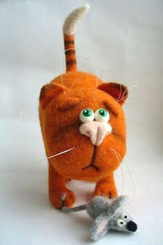Needle Felted Toy  Orange cat Soft Sculpture OOAK by TashaToys, $62.00