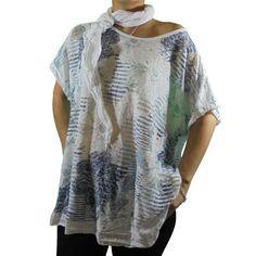 camiseta oversize rayas flores