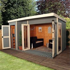 12 x 8 Waltons Contemporary Summerhouse with Side Shed shed design shed diy shed ideas shed organization shed plans Shed Office, Backyard Office, Backyard Studio, Backyard Sheds, Outdoor Sheds, Backyard Storage, Outdoor Storage Sheds, Outdoor Tools, Backyard Patio