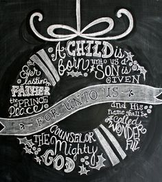 Christmas chalkboard with chalk wreath