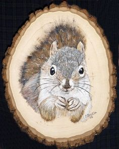 by Orphie Barella, Squirrel on wood in oils
