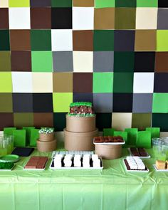 Crafty Ingredients: Minecraft Birthday Party - love the pixel wall backdrop!