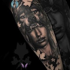 awesome wolf tattoo © tattoo artist O K A M I T A T T O O 💖💖💖💖💖<br> As we mentioned above, today we're going to satisfy our ink hunger with the most beautiful wolf tattoo designs that the internet has ever seen Tigeraugen Tattoo, Calve Tattoo, Calf Tattoo Men, Wolf Tattoo Sleeve, Inca Tattoo, Leg Tattoos, Sleeve Tattoos, Joker Tattoos, Tattoo Wolf