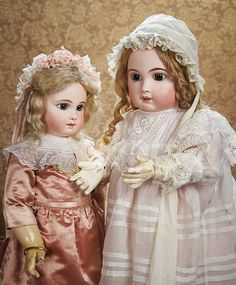 Beautiful French Bisque Bebe E.J.,size 13,with Original Dress and Kidskin Gloves. Circa 1884. http://Theriaults.com