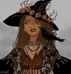 """wakaju: """" The golden death witch from my witch series, i finally sat down and did some new illustration for it! here are the others witches 5 , """" nice witchsona Black Girl Art, Black Women Art, Art Girl, Draw Faces, Character Inspiration, Character Art, Witch Drawing, Witch Series, Witch Film"""