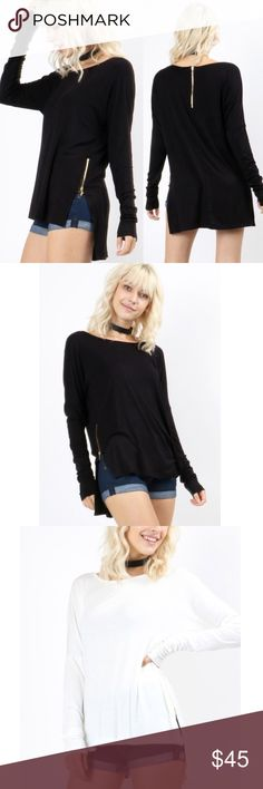 LILA Zipper Detail Top - 2 colors Long sleeve über soft and stretchy top with zipper detail  95% RAYON 5% SPANDEX  AVAILABLE IN IVORY AND BLACK  PRICE FIRM Bellanblue Tops Tees - Long Sleeve