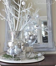 entry mirror silver reindeer
