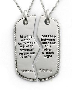 Applesofgold.com - Sterling Silver Military Dog Tag Pendant with Prayer Inscription for Two