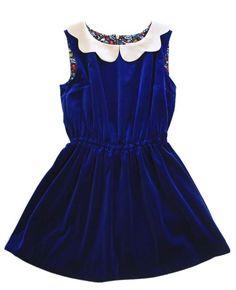 Velvet Little Blue Dress,  £270.00  Made in London  100% natural fabrics  Autumn Winter 12 collection