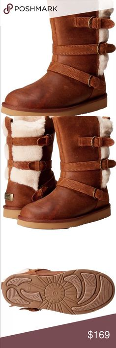 """UGG Australia BecketChestnut Leather Triple Buckle 2016 style boots  brand new without box  UGG Australia's stylish and everyday Becket boot comes in top grade water resistant leather with triple buckle side detailing and exposed shearling Dyed lamb shearling (Australia, UK, US, or Ireland) fur lining. UGGpure™ 100% wool sockliner. Approx. 8.3""""H shaft. 1"""" flat heel. Round toe. Three fixed buckle straps. Molded rubber outsole. UGG Shoes Winter & Rain Boots"""
