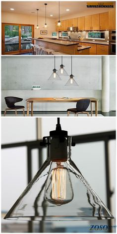 Industrial Glass Cone Pendant-Home lighting,vintage lighting: Perfect pendant lighting for your kitchen table, kitchen island, dining room, bar, bedroom etc. http://www.zosomart.com/home-living/lamps-lighting/restoration-new-barn-industrial-vintage-pendant-lights-glass-w-led-bulb-333.html