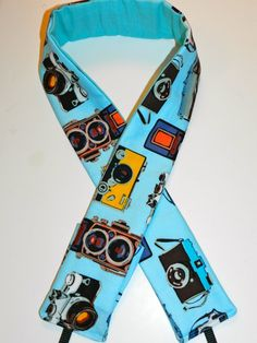 Camera Strap Photos of Vintage Cameras on Turquoise by DarbyMack, $18.95