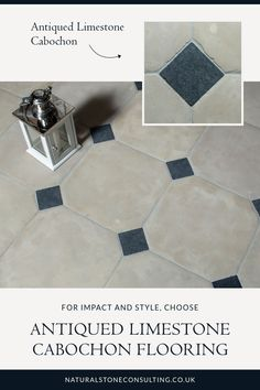Chequered flooring works beautifully in a traditional setting as well as across a more contemporary decor. Our antiqued limestone cabochon flooring uses black cabochon diamonds and beige limestone squares for a style that embraces a time-worn look, an ideal choice for property developers and interior designers. Why not check it out over on our website. #naturalstoneconsulting #naturalstone #stonetilefloors Limestone Flooring, Natural Stone Flooring, Contemporary Decor, Contemporary Kitchens, Utility Room Designs, Outdoor Paving, Checkered Floors, Antique Tiles, Flooring Options