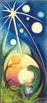 The Eternal God is born - Christmas Banner by Sr Mary Stephen CRSS. The Eternal God, Lord of the Universe, creator of the stars and all the spaces Christmas Banners, Christmas Nativity, Christmas Crafts, Catholic Art, Religious Art, Church Banners, Holy Mary, Madonna And Child, Christmas Paintings