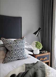 6.7.2015. th2designs©. One of our last designed bedroom! Love the patterns and the trunk bedside table, these add a lot of charm to a room