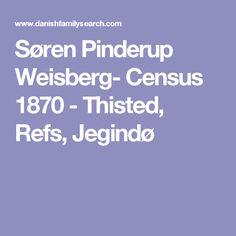 Søren Pinderup Weisberg- Census 1870 - Thisted, Refs, Jegindø
