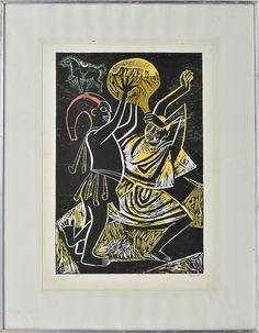 CARYBÉ - Sem título, serigrafia, tiragem 196/200, assinada no canto inferior direito. Med.: 67x47 cm.