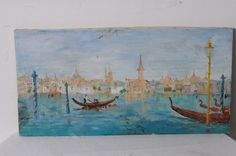 Vintage Cityscape Seascape Venice Gondola Italy Wall Hanging Canvas Oil Painting #OutsiderArt