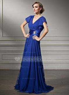 Mother of the Bride Dresses - $147.99 - A-Line/Princess V-neck Sweep Train Chiffon Charmeuse Lace Mother of the Bride Dress With Ruffle Beading (008005755) http://jenjenhouse.com/A-Line-Princess-V-Neck-Sweep-Train-Chiffon-Charmeuse-Lace-Mother-Of-The-Bride-Dress-With-Ruffle-Beading-008005755-g5755