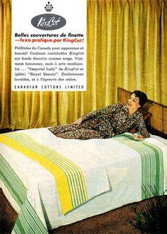 Vintage French ad for KingCot Blankets (1958). #vintage #1950s #bedroom #linens #ads 1950s Bedroom, Mid Century Bedroom, Bedroom Vintage, Mid Century House, Vintage Home Decor, Bedroom Linens, Vintage Homes, Vintage Advertisements, Vintage Ads