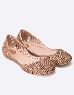 Balerini cauciuc cu aspect metalizat si gaurele Wedges, Flats, Casual, Shoes, Fashion, Elegant, Loafers & Slip Ons, Moda, Shoes Outlet