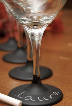 Chalk paint on wine glasses!