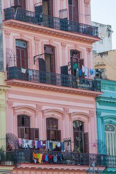 Balconies and Laundry. Building on Paseo de Marti, Havana, Cuba by abaesel, via Flickr