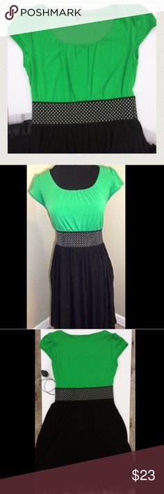 Polkadot Maurice's party dress size S Cute polka dot waist band pulls together this  black and Green Party dress . Great condition, only worn once! Maurices Dresses Midi