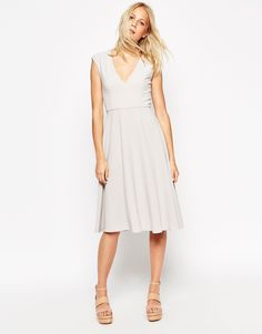 Image 1 of ASOS Tailored Midi Dress with Clean V Front