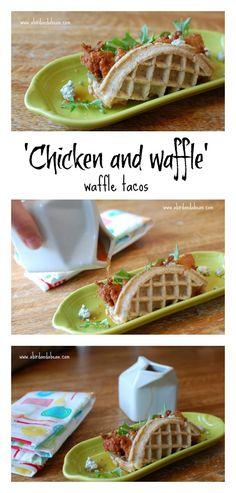 """Chicken and Waffles"" Waffle Taco (Bake Tacos Dinners) Chicken And Waffles, Baked Chicken, Chicken Tacos, Chicken Recipes, Food Trucks, Waffle Taco, Taco Dip, Waffle Iron Recipes, Great Recipes"