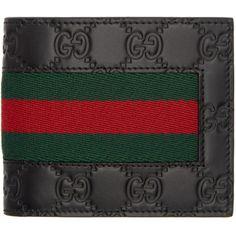 44cc31ab92b6dc #SSENSE - #Gucci Gucci Black Gucci Signature Web Wallet - AdoreWe.com