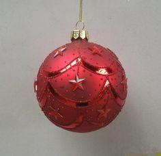 送料無料1ピースガラスクリスマスボールレッドカラー8センチ直径クリスマスツリーボール装飾ペンダント