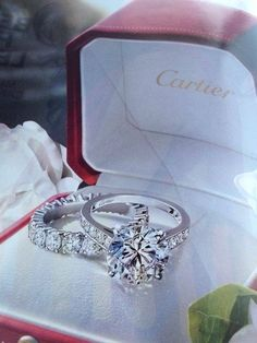 Cartier engagement ring & eternity wedding band