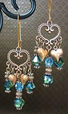 Green / Turquoise / Copper Filigree Gypsy Cowgirl Chandelier Earrings - GyPsY HeaRTs. $22.00, via Etsy.