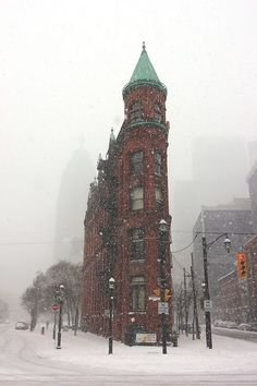 The Flatiron Building, Snowy Day, Toronto, Ontario, Canada O Canada, Canada Travel, Ottawa, Oh The Places You'll Go, Places To Visit, Voyager Loin, Snowy Day, Winter Scenes, British Columbia