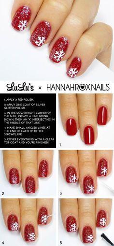 d1790758fcea 20 Fabulous and Easy DIY Christmas Nail Art Design Tutorials