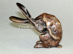 Solid Bronze Grooming Hare Sculpture by Paul Jenkins