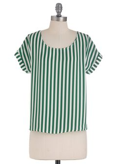 Grandstand by Me Top - Mid-length, Green, White, Stripes, Short Sleeves, Backless, Buttons, Casual